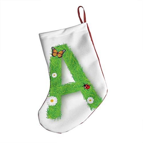GULTMEE Christmas Stocking,Fresh My Name Style Capital A with Eco Spring Elements Animal Wings Blooms,Xmas Holiday Stocking Tube Socks 18 Inches