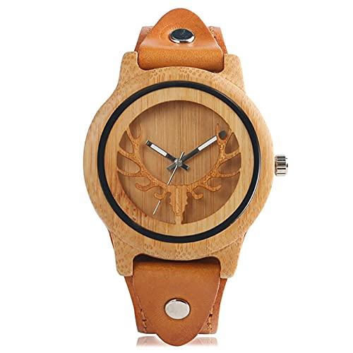 Relojes de Madera con diseño Steampunk, Reloj de Pulsera de bambú con Cara de Alce y Ciervo para Hombre, Reloj de Cuarzo de Cuero Genuino para Hombre, Bronce