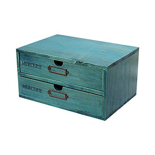 Organizer da Tavolo in Legno con 2 cassetti, cassettiera in Legno Cassetto in Legno Cassetti Estraibili per Ufficio Forniture per Ufficio-Blu