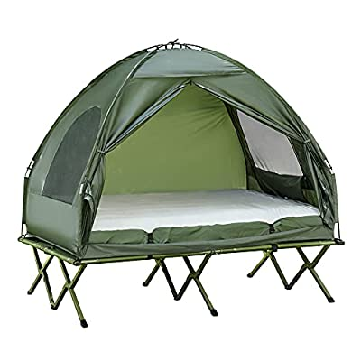 Outsunny Extra Large Compact Pop Up Portable Folding Outdoor Elevated All in One Camping Cot Tent Combo Set