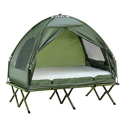 Outsunny Compact Pop Up Portable Folding Outdoor Elevated Camping Cot Tent Combo Set.