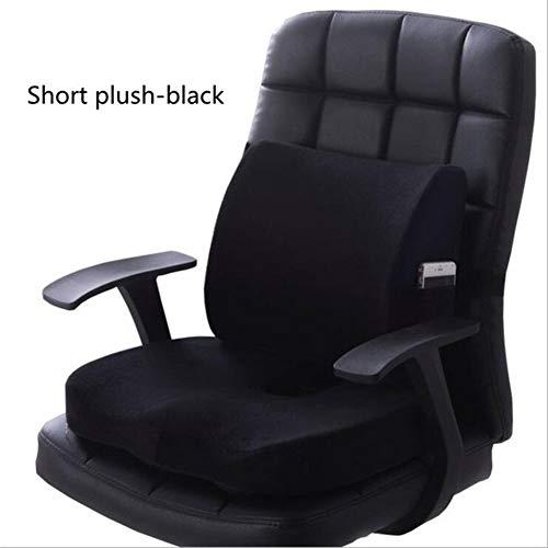 Nologo Cojín para silla de coche, asiento de oficina, cojín de masaje con memoria de espuma viscoelástica, cojín de masaje lumbar, cojín de peluche corto, protección del coxis, ortopédico
