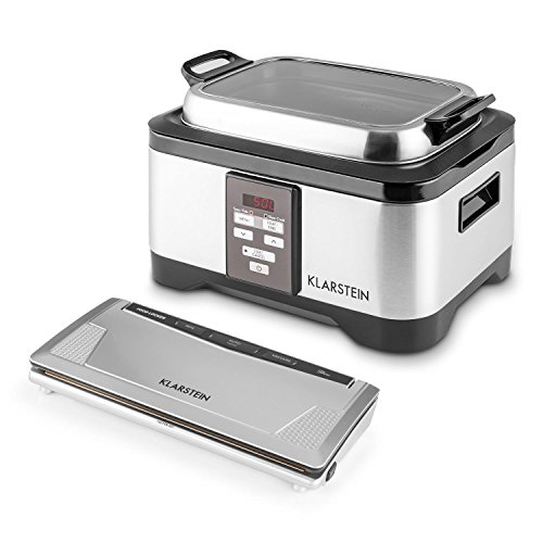 Klarstein Tastemaker Sous Vide Garer + FoodLocker Vakumierer Set (6 Liter Vakuumgarer, 550 Watt, Edelstahl, LED-Display, Vakuumiergerät, 130 Watt, -0,75 Bar, 10 Beutel) silber
