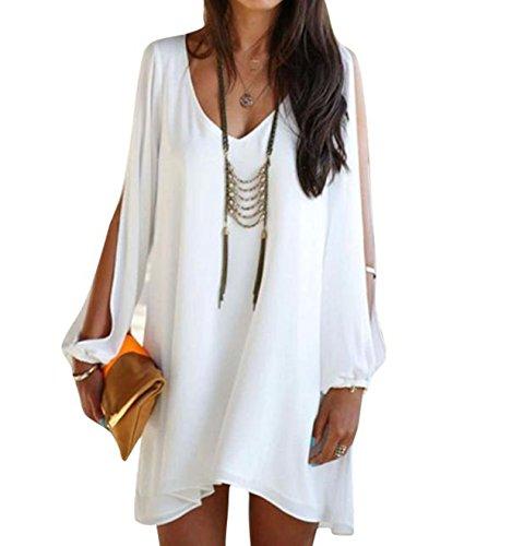 Elecenty Damen Solide Sommerkleid Partykleid Irregulär Knielang V-Ausschnitt Kleider Chiffon Frauen Mode Lose Kleid Minikleid Kleidung Asymmetrisch Abendkleider (L, Weiß)