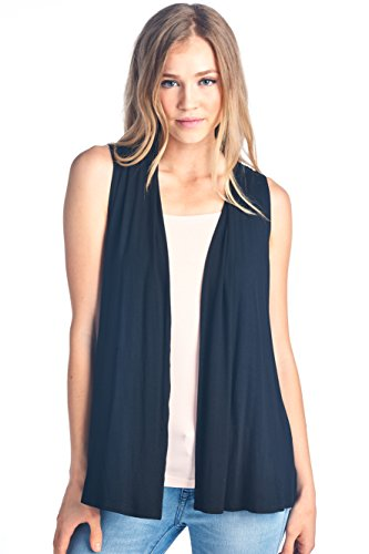 Women's Sleeveless Extra Soft Bamboo Layering Casual Cardigan Vest - Made in USA (X-Large, Black)