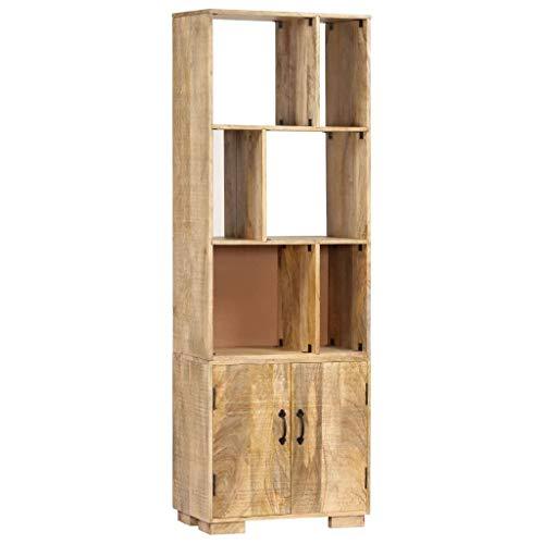 vidaXL Mangoholz Massiv Bücherregal mit 2 Türen 6 Fächern Holzregal Standregal Wandregal Büroregal Aktenregal Schrank Regal Bücherschrank 60x35x180cm