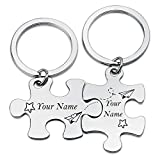 SIDIMELO Personalized Gifts Matching Puzzles Name Keychain Custom Your Name Keychain for Couples Best Friends Graduation Gift Best Lover Gifts for Boyfriend Girlfriend (Your Name PUZKR)