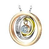 Kami Idea Muttertagsgeschenk Halsketten für Frauen Ringe Anhänger Swarovski Kristall Schmuck Damen Kette Geschenk für Frauen Geburtstagsgeschenk für Frauen Mama Modeschmuck Roségold Schmuckkästchen