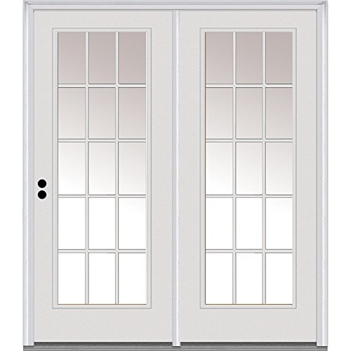 National Door Company Z001644R Steel, Primed, Right-Hand Inswing, Center Hinged Patio, Clear Glass White Internal Grilles, 67