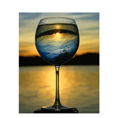 Kkooa Diy Olieverf Kit Grote Rode Wijnglas Stilleven Handgeschilderd Diy Cadeau Tekening Door Getallen Wall Art Foto 50X65Cm Zonder Lijst