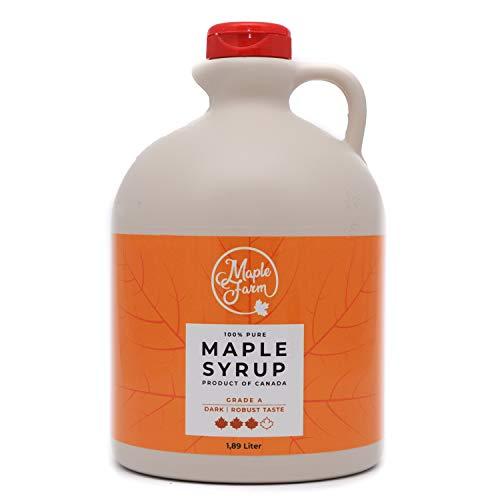 MapleFarm - Pur Sirop d'érable Catégorie A, Foncé - goût robuste - 1,89 litres (2,5 Kg) - Original maple syrup - Grade A - Dark, robust taste - Sirop d'érable pur - Pancake sirop