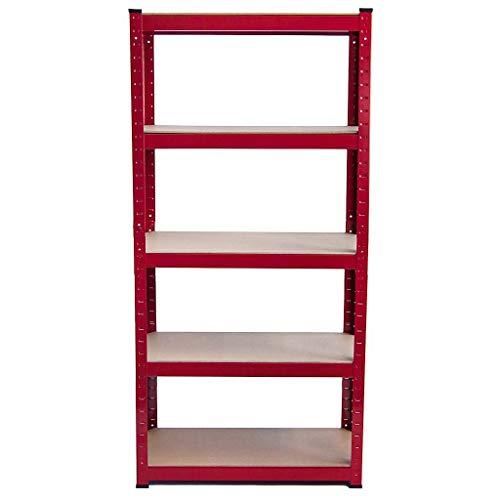 Etagère – 5 niveaux 175 kg par étagère moderne Garage Abri de jardin Abri de organisation Rack Racking 875 kg Capacity-90 cm * 40 cm * 180 cm, Rouge, rouge