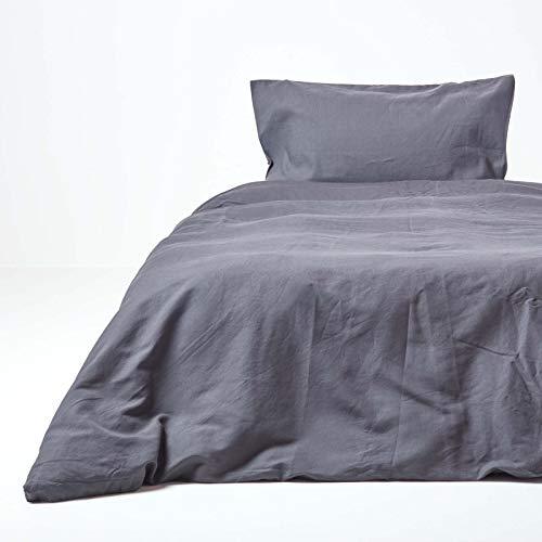Homescapes Leinen Bettwäsche 2-teiliges Set Anthrazit Unifarben enthält Leinen Bettbezug 135 x 200 cm und Leinen Kissenbezug 48 x 74 cm Dunkelgrau 100% Reine Baumwolle und Französisches Leinen