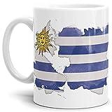 Tassendruck Flaggen-Tasse Uruguay Weiss - Fahne/Länderfarbe/Wasserfarbe/Aquarell/Cup/Tor/Qualität Made in Germany