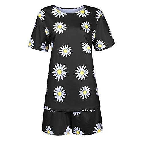 ZJMIYJ Pijamas De Mujer,Verano Nuevas Mujeres Color Tierra Pijamas Conjunto Señoras Estilo Simple Ropa De Dormir Suelto Suave Casual Desgaste Algodón Acogedor Homewear, Negro, 4XL
