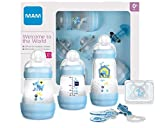 MAM Set de Recién Nacido Welcome to the World G101-3 Biberones Easy Start Anti-Colic, 1 Chupete Start y 1 Broche Clip 0+ meses, Azul, Versión Española