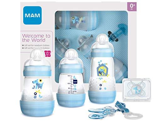 MAM Set de Recién Nacido Welcome to the World G101-3 Biberones Easy Start Anti-Colic, 1 Chupete Start y 1 Broche Clip 0+ meses, Azul, Versión Española
