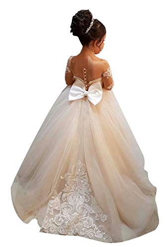 BABYONLINE D.R.E.S.S. Enfant Fille Robe Princesse Longue Dentelle Robe Soirée Cérémonie Demoiselle d'honneur Tulle Plissé Manches Longues Robe Mariage Danse Fête 2-14 Ans Champagne 12