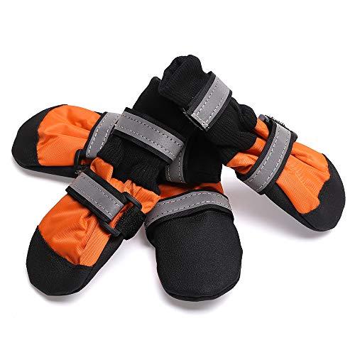TFENG Dog Boots Pfote Protector Stop lecken Wundschutz Hund Schuhe Skid Proof (Orange, Größe M)