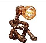 LZDD Lámpara de Sala de Estar de Dormitorio Tubo de Hierro Wate Pipe luz de la Noche, Estilo Industrial Creativo Retro del Restaurante de Noche de Escritorio Lámpara de Mesa (Color : Bronze)