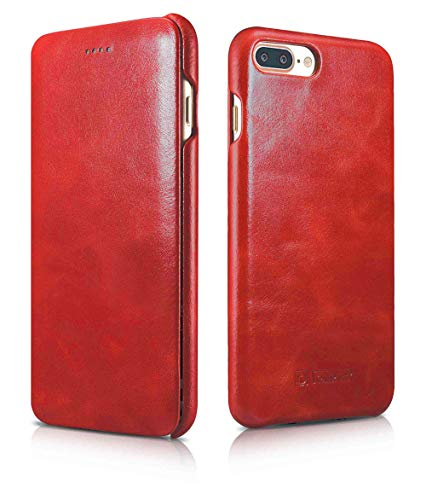 ICARER Tasche passend für Apple iPhone 8 Plus & iPhone 7 Plus (5.5 Zoll), Hülle mit Echt-Leder, Schutz-Hülle klappbar, Ultra-Slim Cover, Etui im Vintage Erscheinungsbild, Rot