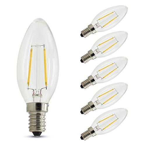 6 Unidades, Bombillas Vela de Filamento LED E14 (Casquillo Fino) - 2W equivalente a 20W, 180 lúmenes, Color blanco cálido...