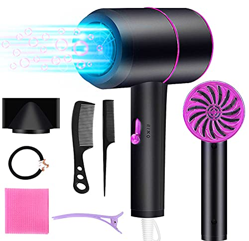 ZDAGO Ionic Hair Dryer,1800W Professional Blow Dryer (with Powerful AC Motor),Negative Ion Technolog, 3 Heating/2 Speed/Cold Settings, Contain 2 Comb and 1 Nozzles,for Home Salon Travel Pregnant Kid