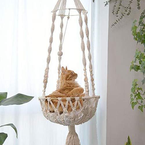 Gato Hamaca Macramé, Tapiz De Algodón Columpio para Mascotas Silla/Cama Tejido A Mano Resistente para Colgar En La Pared Decoración del Hogar para Sala De Estar Patio 25 × 132 Cm