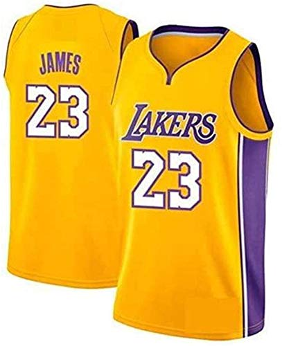 Lebron James- Lakers # 23 Jersey, Ropa Deportiva, Camiseta Sin Mangas Unisex Camiseta De Baloncesto (Amarillo, XL)