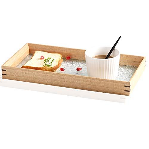 Huaesem Naturholz Serviertablett, Servierplatte mit antikem Glas, Dekotablett, Kosmetiktablett, für den Couchtisch, Esstisch oder jede Tischplatte, Waschtisch, Kommode und Badezimmer