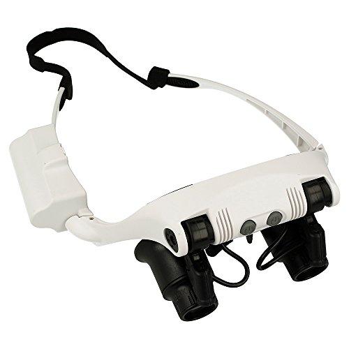 REY Gafas de Precisión con Zoom 10X-25X y Luz LED, Lentes con Lupa, Visión con Aumento