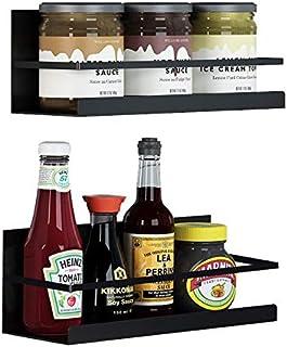 Magnetic Spice Rack 2 Pack, KAREZONINE 1 Tier Refrigerator Spice Rack Organizer Spice Jars Bottle Stand Holder with Magnetic Back, Kitchen Organizer Storage Shelves Rack
