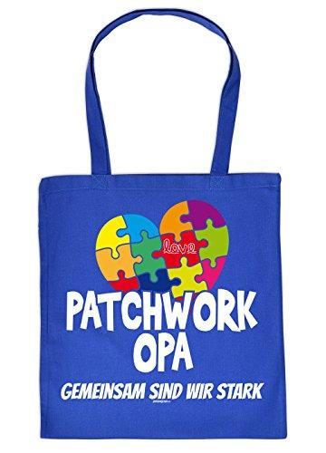 Opa Geschenk Tasche - Sprüche Baumwolltasche : Patchwork Opa gemeinsam - Einkaufstasche Geschenktasche Großvater + Urkunde Farbe: Royalblau