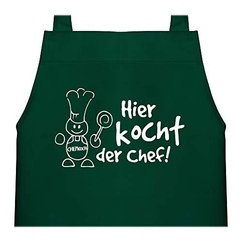 Shirtracer Kinderschürze mit Motiv - Hier kocht der Chef - 60 cm x 50 cm (H x B) - Grün - kinderkochschürze - X978 - Kochschürze und Schürze für Kinder