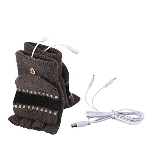Rehomy Guantes con Guantes USB para Mujeres y Hombres Guantes de Invierno cálidos y de Medio Dedo para Laptop para Interiores o Exteriores (Hombres Gris)