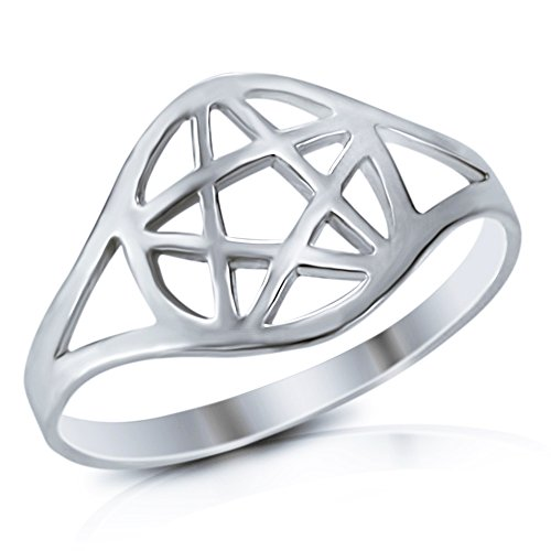 Mimi 925 Sterling Silver Wicca Pentacle Ring - Size 7