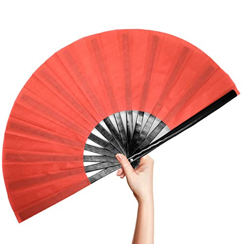 OMyTea Bamboo Large Rave Folding Hand Fan for Men / Women - Chinese Japanese Kung Fu Tai Chi Handheld Fan with Fabric Case - for Performance, Decorations, Dancing, Festival, Gift (Red)