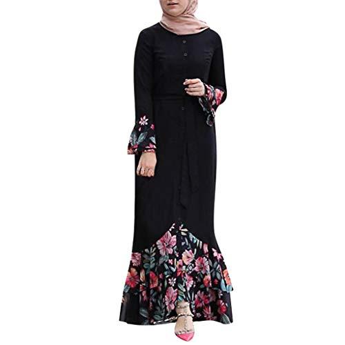 Lazzboy Muslim Frauen Blumen Long Cocktail Langes Kleid Abendparty Abaya Roben Maxikleid Dubai Robe übergröße ärmel Stricken Damen Abschlussball(Schwarz,M)