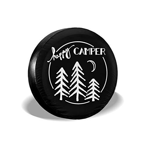 Happy Camper - Cubierta de repuesto para neumáticos, impermeable, a prueba de polvo, UV y protección contra el sol, apto para Jeep, remolque, RV, SUV y muchos vehículos de 40,6 cm
