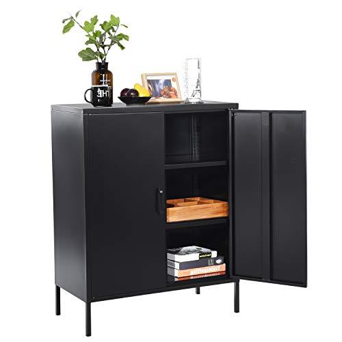 MEUBLE COSY Grand Espace Armoire chambre métallique 3 couches Meubles de Rangement pour Salon 2 Portes Buffet Cuisine Noir , Noir /80x40x101.5cm