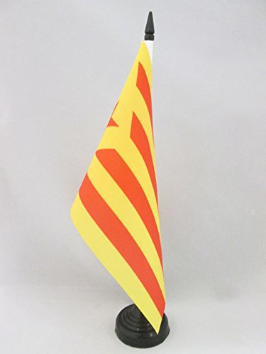 AZ FLAG Bandera de Mesa de CATALUÑA ESTELADA VERMILLA 21x14cm - BANDERINA de DESPACHO Catalunya INDEPENDENTISTA GROGA 14 x 21 cm