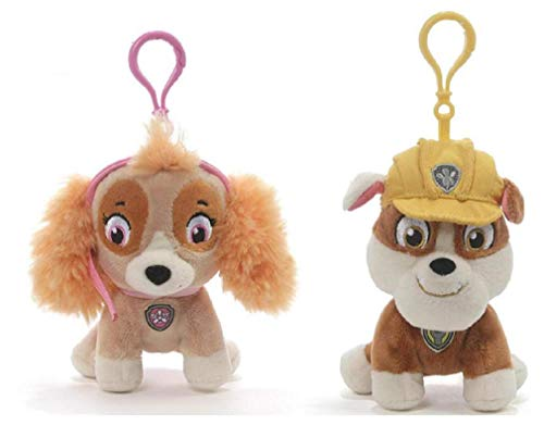 GUND Paw Patrol Backpack Clip Plush Bundle of 2, 4' Skye and Rubble