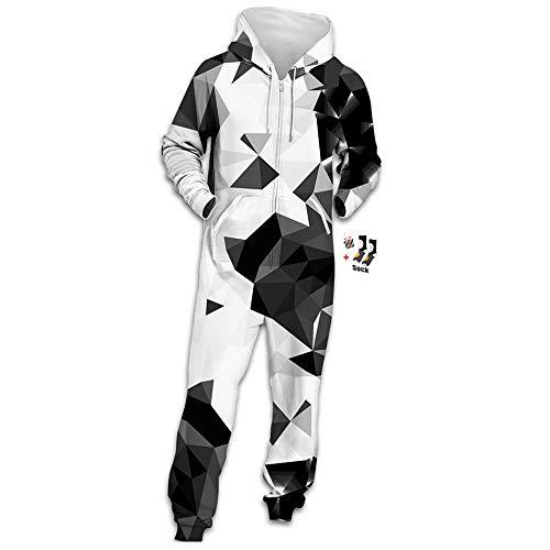 Morbuy Herren Jumpsuit Jogger, Unisex Herren Kapuzenpullover Strampelanzug 3D Printed Onepiece Sweatshirt Männer Strampler Weich Nachtwäsche Fitness Bekleidung (XL, Grau-schwarzes Dreieck)