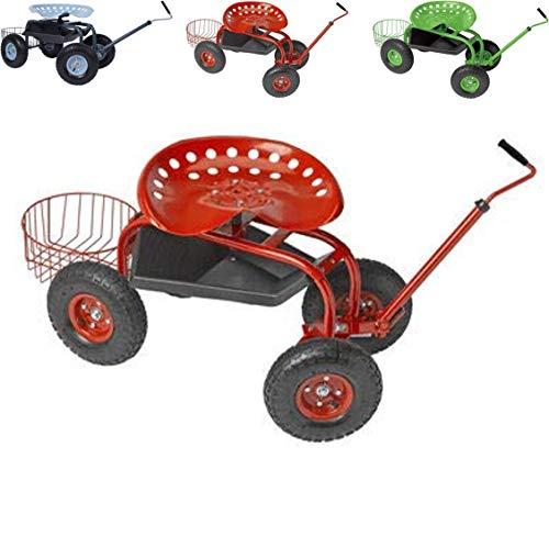 Papilioshop Gardy Gartenhocker Rollwagen Sitzhocker für Gemüsegarten (Rot)