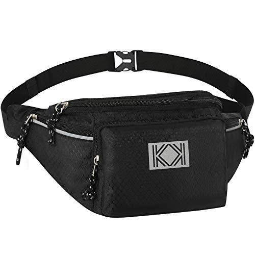 KK New Water Resistant Bum Bag Large Waist Bag Strong Spacious Travel Sport Holiday Festival Waist Pouch Hip Pack for Men Women BLACK