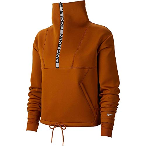 Nike Damen Fleece Crop Mock Neck Sweatshirt, Burnt Sienna/Metallic Silver, S
