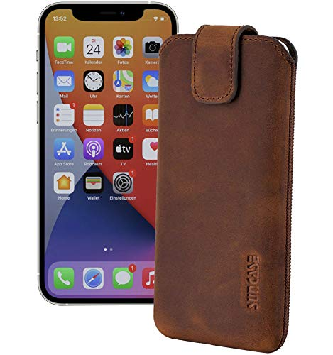 Suncase ECHT Ledertasche Leder Etui kompatibel mit iPhone 12 Pro (6.1