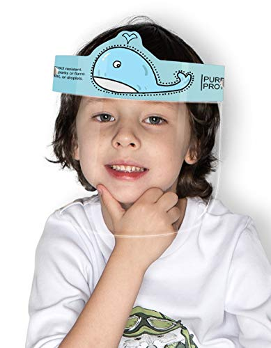Pure Protective Reusable Anti-Fog Face Shield, Child Size, Whale (11.0 in x 6.7 in)