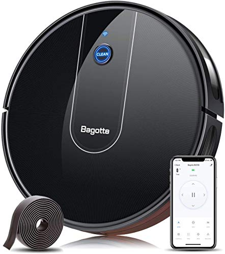 Bagotte Aspirateur Robot BG700, 1600 Pa D'aspiration, Robot Laveur Connecté Wi-FI et Alexa, Contrôle des App, Super Fin, Auto-Chargé, Capteur Anti-Chute, pour Les Poils d'animaux, Sols Durs, Tapis