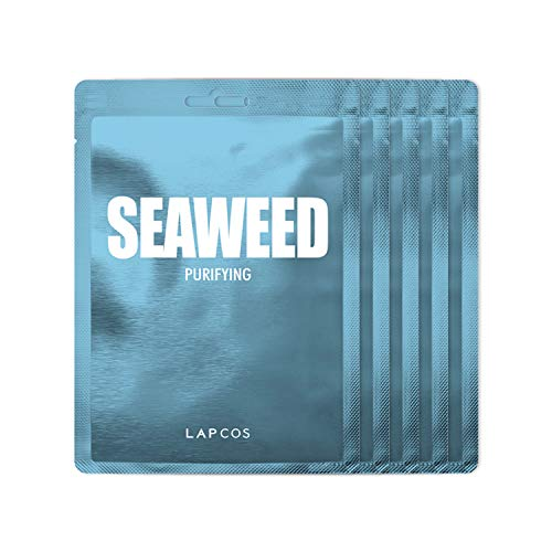 LAPCOS Seaweed Sheet Mask, Daily Face Mask with Hyaluronic Acid to Smooth and Purify Skin, Korean Beauty Favorite, 5-Pack